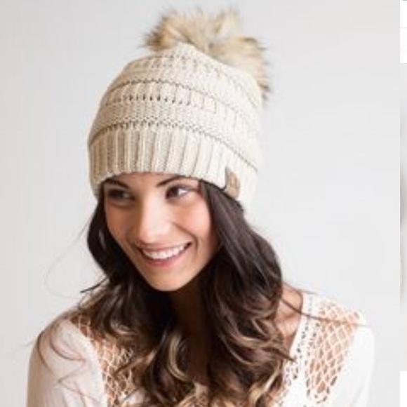 355364726ea C.C. Beige Knit Beanie with Faux Fur Pom Pom